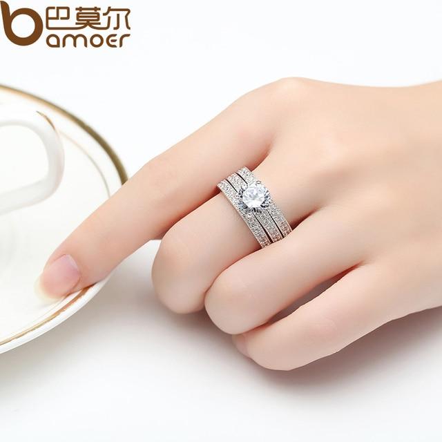BAMOER Luxury Brand Moda Colore Argento Insieme Nuziale Anello per Le Donne con Pavimentati Micro Cristallo Zircone Gioielli Da Sposa YIR031