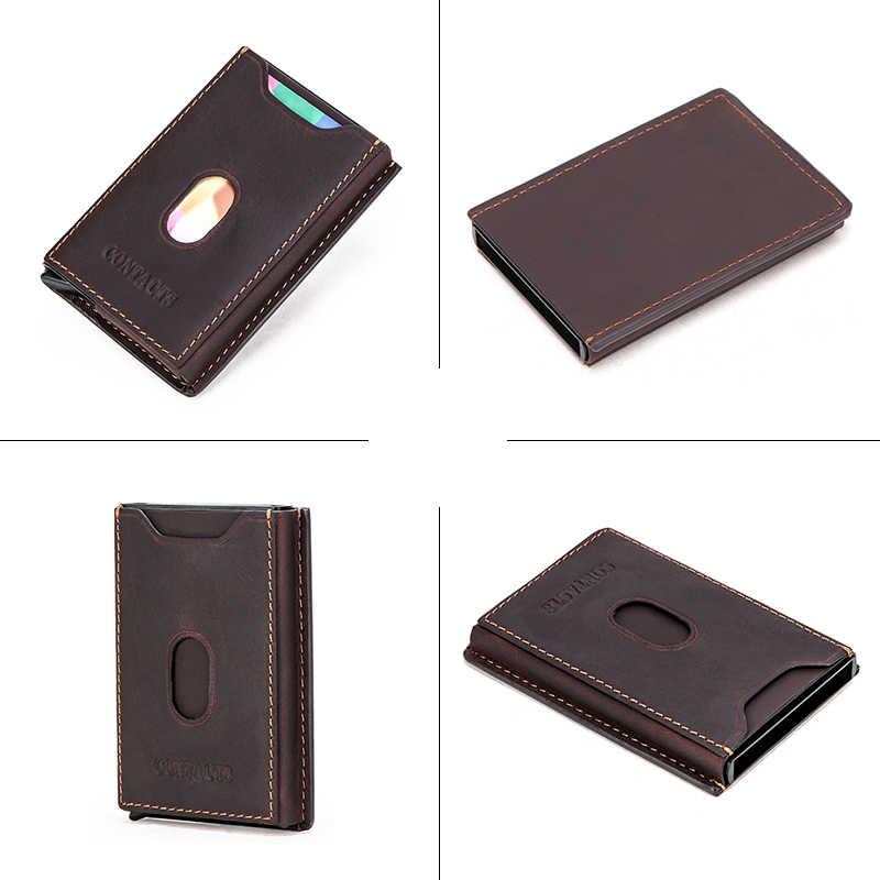 連絡のクレジットカード所有者の男性金属ヴィンテージアルミブロックホルダーボックス狂気の馬牛革カード財布ブランドデザイナー
