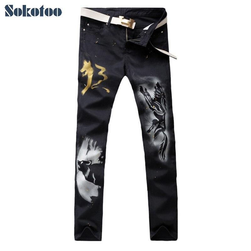ФОТО Sokotoo Men's casual slim straight wolf print black denim jeans casual painted pants Long trousers