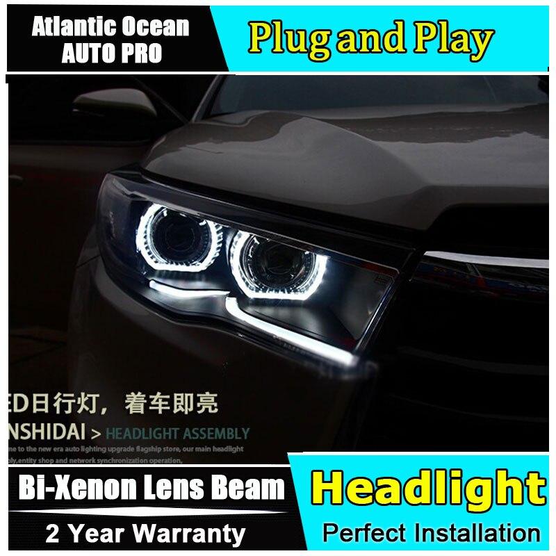 2014 2016 для фары Toyota Highlander Тюнинг автомобилей для Highlander светодиодный DRL xenon h7 би ксенон объектив Ангельские глазки фар