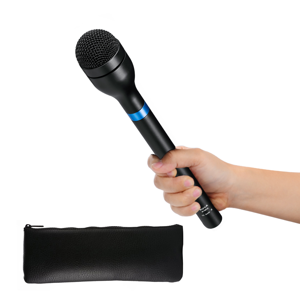 BOYA BY HM100 Omni Directional Wireless Handheld Dynamic Microphone XLR Long Handle for ENG Interviews News