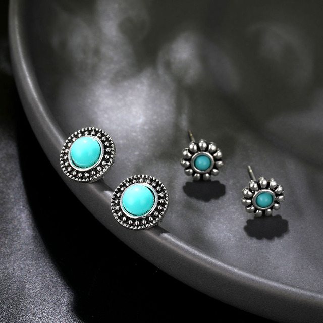 Boho Arrow Cross Moon Flower Gem Silver Women Punk Stud Earrings Set 3