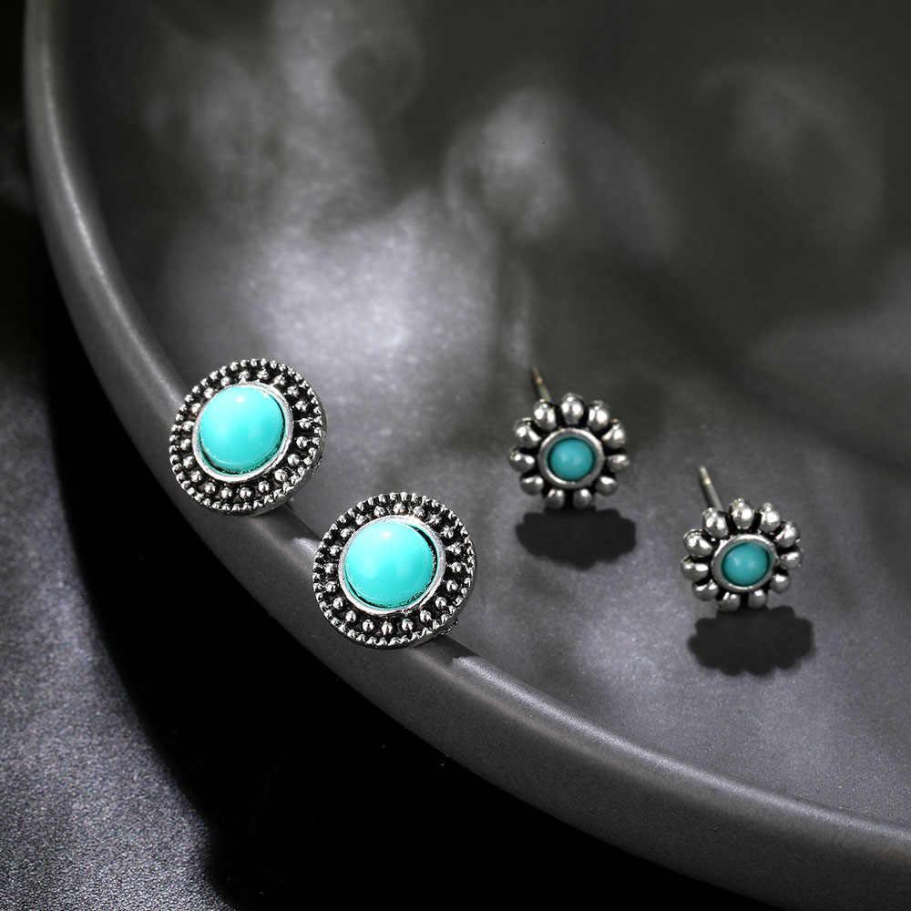 4 пар/компл. Boho стрелка крест ипомея белая драгоценный камень Серебряные серьги комплект Для женщин панковая заклёпка серьги индивидуальность одежда для вечеринки ювелирные изделия