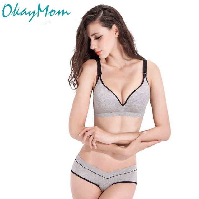 d47066ad8fe Cotton nursing bra+panties set wire free maternity underwear bra for pregnant  women Breastfeeding Nurse