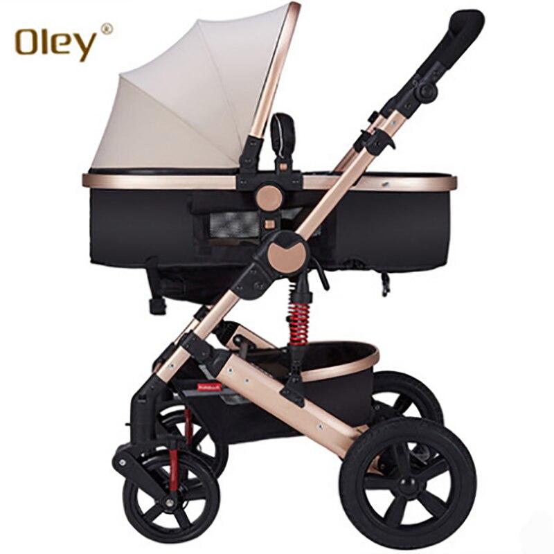 Олей коляска высокого пейзаж может сидеть или лежать шок зимняя одежда для малышей коляска двусторонний палубе белого Рама тележки