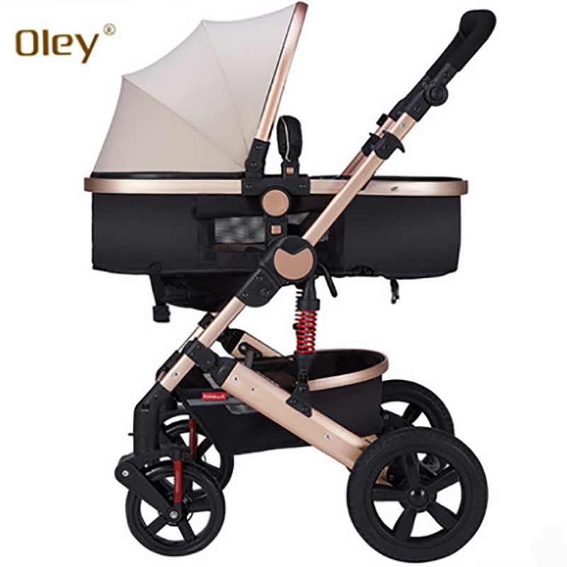 все цены на Oley stroller high landscape can sit or lie shock winter children baby stroller two-way deck White frame trolley