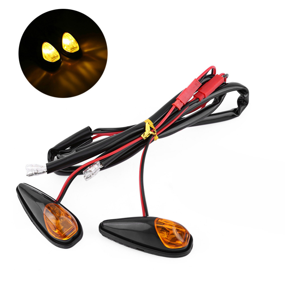 2 Pcs Motorcycle Turn Signals ATV Scooter Flashing Indicator Lamps Motorbike Pasted Super Bright Light For Kawasaki
