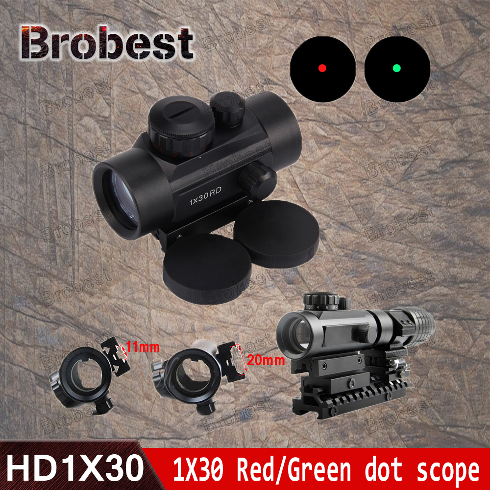 Holographic 1 X 30 Red Dot Sight Airsoft Red Green Dot Sight Scope Hunting Scope 11mm 20mm Rail Mount Collimator Sight