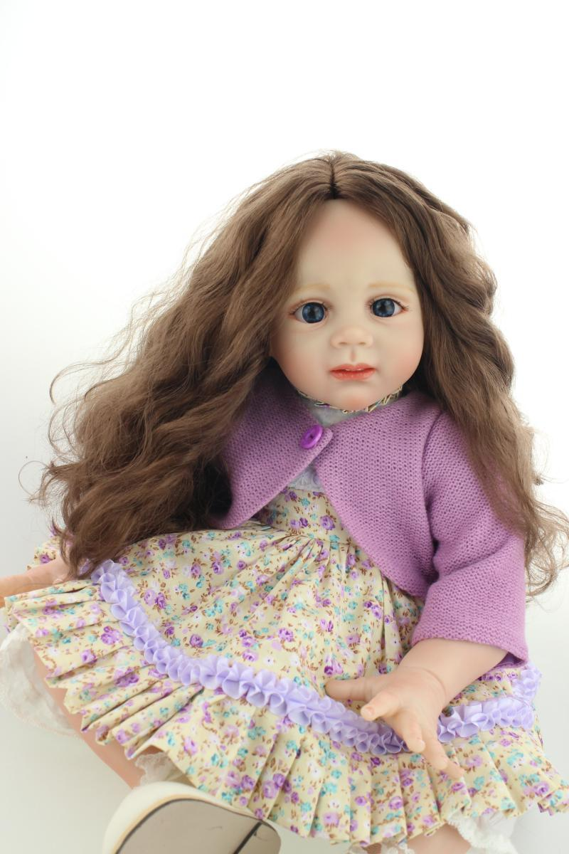 ФОТО Large size 60CM silicone reborn toddlers dolls babies /Lifelike Girls long hair purple coat dolls gift Baby Toys