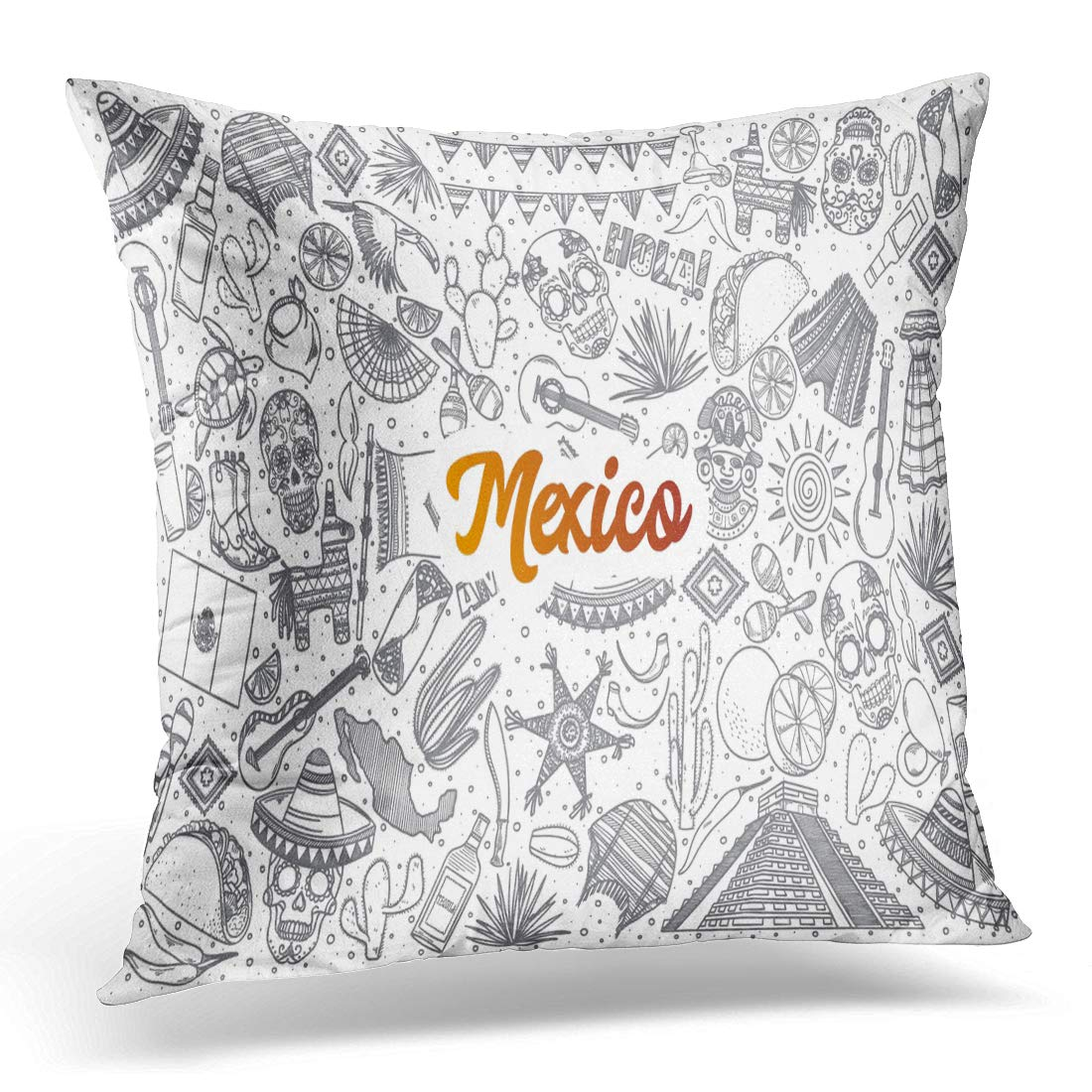 3D Pillow Covers Case Sketch Hand Drawn Mexico Doodle Orange Lettering in Cactus Pillowcase Bedroom