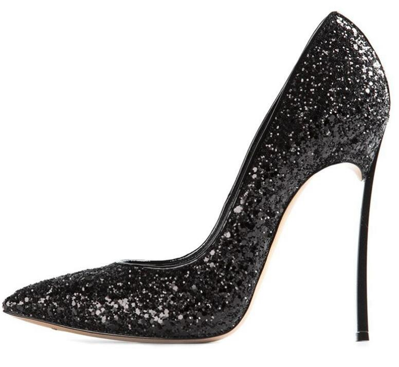 Newest Black Glitter Embellished Pointed Toe High Heels 10cm Thin Heels Sexy Shallow Mouth Shoes Wedding Heels for WomanNewest Black Glitter Embellished Pointed Toe High Heels 10cm Thin Heels Sexy Shallow Mouth Shoes Wedding Heels for Woman