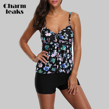 Charmleaks Tankini Set Women Swimsuits Retro Floral Print Swimwear Tie Front Bikini Bathing Suit Beach Wear цена 2017
