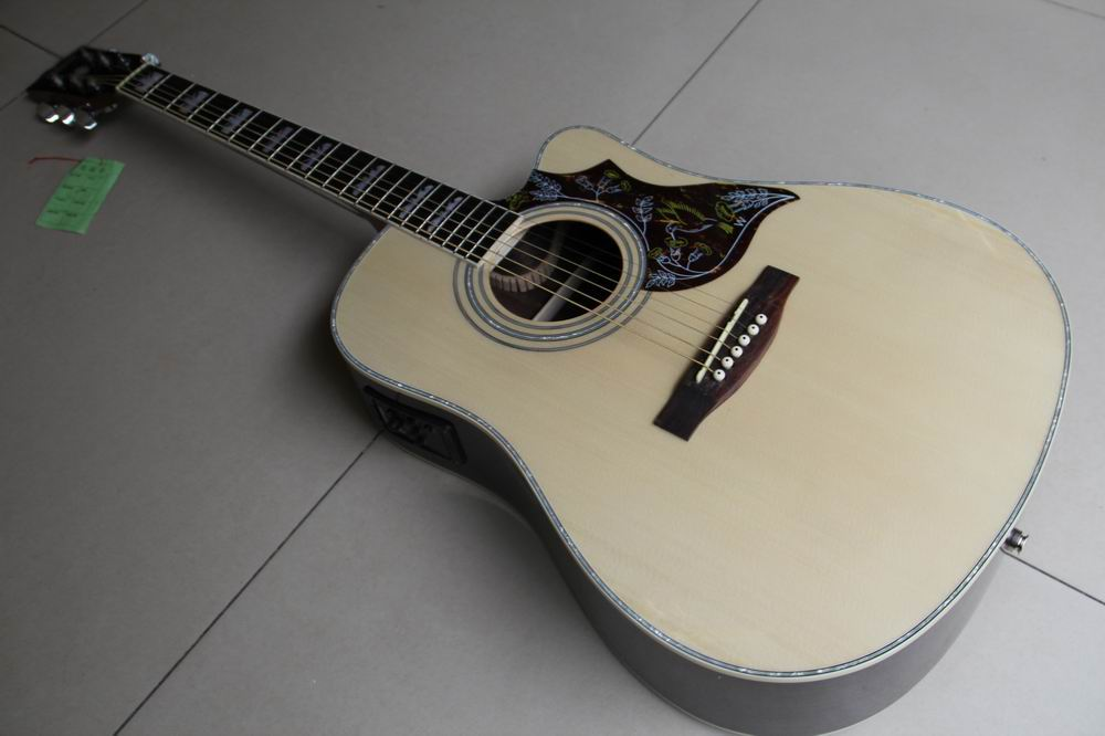 Free Shipping new acoustic electric guitar humminggbird abalone binding in natural wooden 120117 two way regulating lever acoustic classical electric guitar neck truss rod adjustment core guitar parts