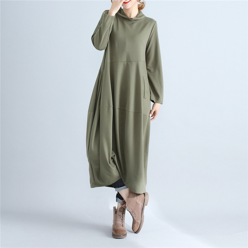 Johnature Women Turtleneck Dress Brief 2017 Spring Autumn New Casual Long Sleeve Pullover Loose Robe Cotton Women Soft Dresses