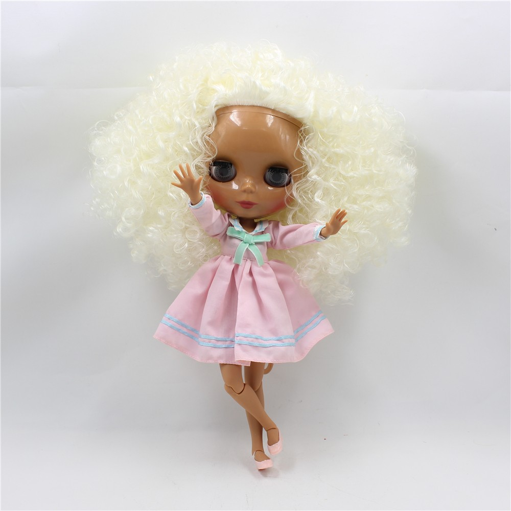 Blyth nude doll with tan joint body fashion beige hair black blyth doll toys gifts nude blyth joint body bjd 1 6 blyth poppen short beige hair doll toys for girls