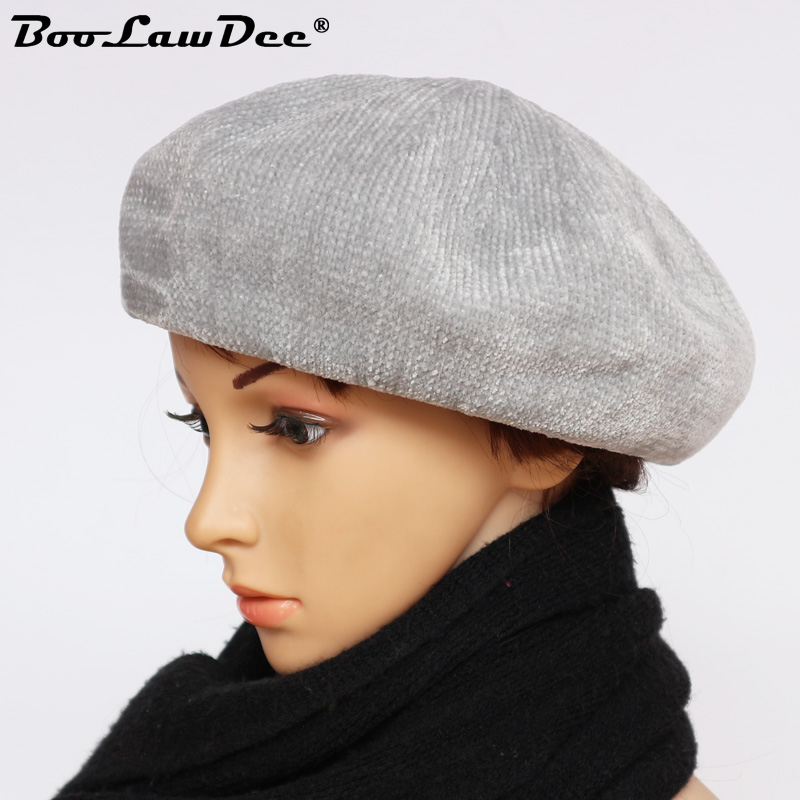 BooLawDee winter women knit beret women cotton thread for 56 59cm solid  black khaki gray wine pink light blue M121A-in Berets from Apparel  Accessories on ... a77a781bb26