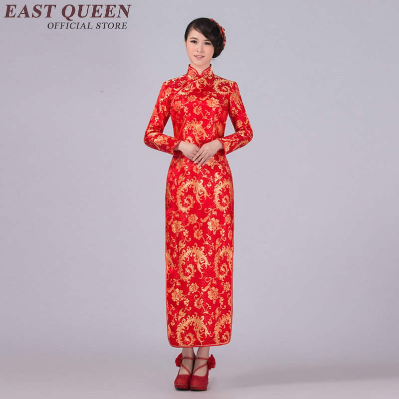 Manches longues cheongsam chinois robe soie style oriental robes moderne qipao robe traditionnelle chinoise robes AA464