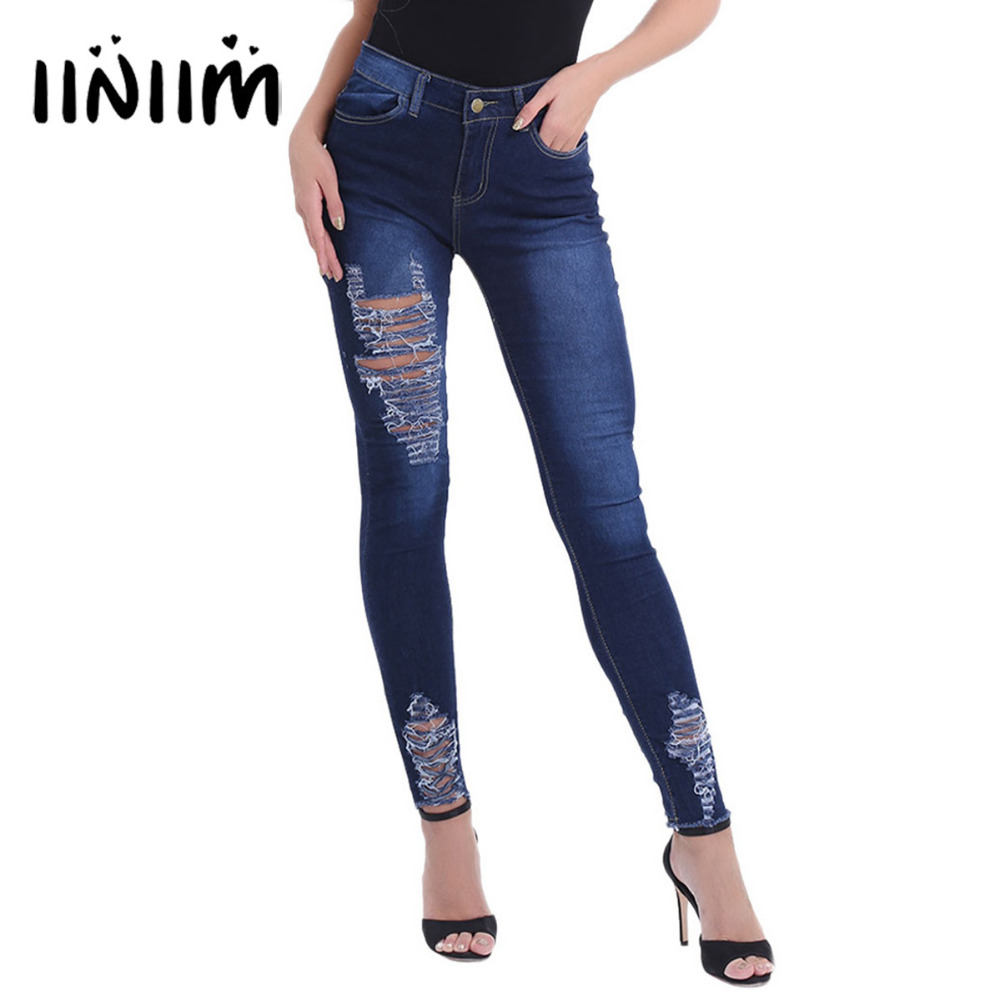 Fashion Outwear Women Clothing Destroyed Ripped Holes Distressed Skinny Jeans 4 Pockets Casual Stretchy Denim Womens Pants