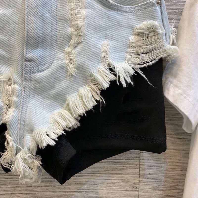 Mode Quaste Shorts Patchwork Taille Hohe Jeans Frauen Sommer 2019 Gerade Qualität 40wPzq6