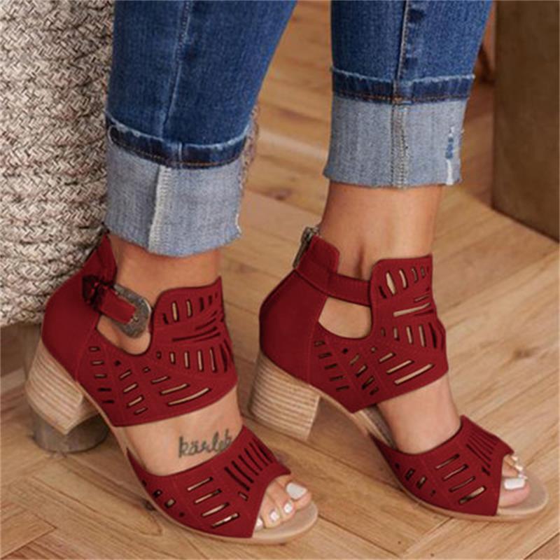 DAHOOD Women Wedge Sandals Mid Heel Summer Slip-on Buckle Ladies Shoes Artificial Open Toe Casual Wedding Pumps Women Sandalias