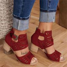 DAHOOD Women Wedge Sandals Mid Heel Summer Slip-on Buckle Ladies Shoes