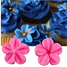 Hot 2 Pcs\set Plum Petal Flower Leaf Veiner Silicone Mould Wedding party Cake Decorating tools Fondant Mold T-849