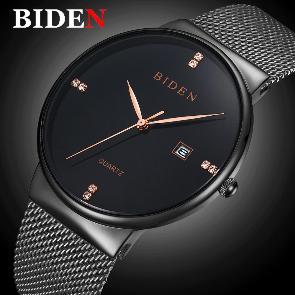 5439e5fc17c BIDEN Homem Relógio de Quartzo Top Marca de Luxo Mens Moda Casual Relógios  Homens de Aço Inoxidável relógio de Pulso À Prova D  Água Relogio masculino