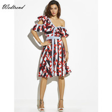 Wedtrend Women Dress Vestidos Free Shipping Designer Elegant Leaves Print Work Business Casual Party Oversize Loose Lady Dresses