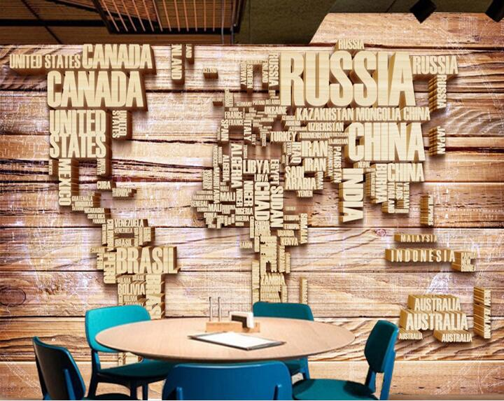 3D Worl Map Mural Large Photo Wall Paper Canvas Wallpapers Living Room Coffee Shop Wall Decor Wall Stickers
