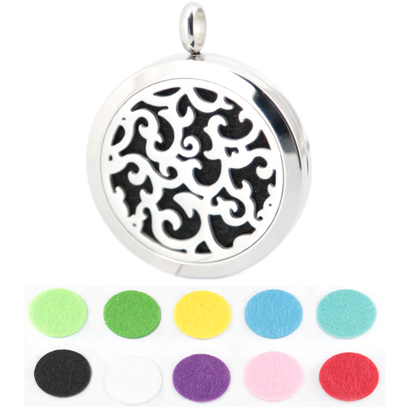10pcs Round Silver rattan 30mm Stainless Steel Essential Oils Aromatherapy Diffuser Locket Necklace With Free chain