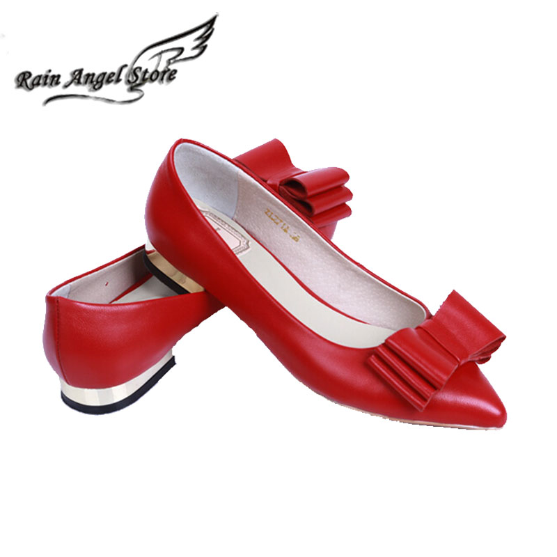 PLus Size 41 Bow Flats European Genuine Leather Pointed Toe Flat Shoes Comfortable Sheepskin Shallow Mouth Red Wedding Shoes 2017 the new european american fashion horn bow pointed mouth shallow comfortable flat sheet metal red shoes tide size 35 41