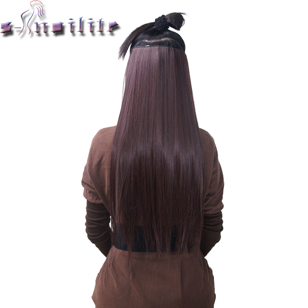 "S-noilite 18-30"" Long 1Pcs Women 3/4 Full Head Clip in Hair Extensions 5clips Black Brown Blonde Auburn Red Synthetic Hairpiec"
