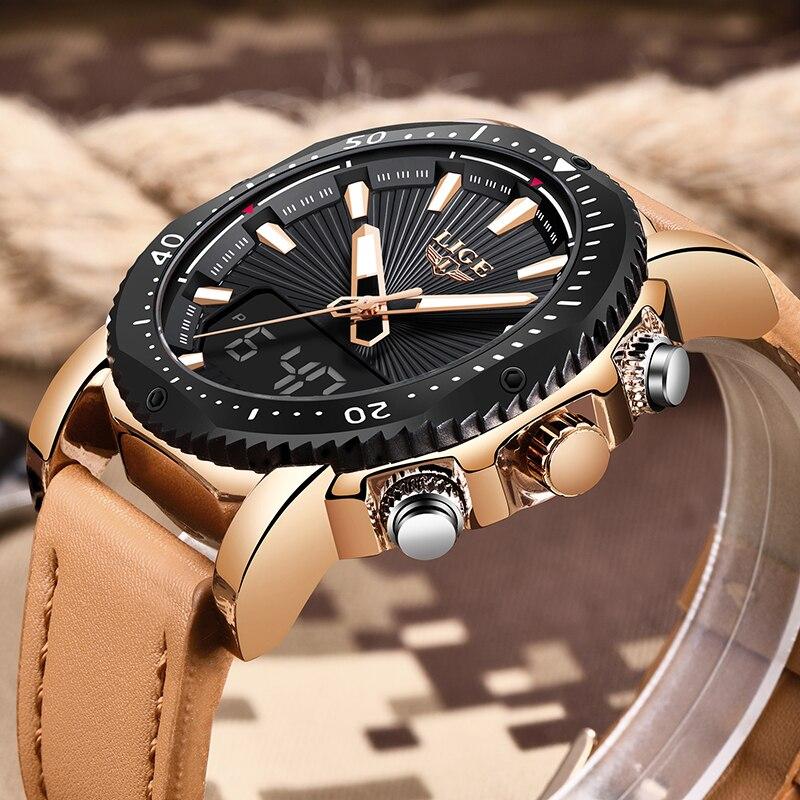 LIGE мужские часы люксовый бренд спортивные светодио дный светодиодные цифровые водостойкие кожаные кварцевые часы мужские часы Relogio Masculino + ...