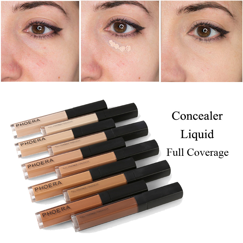 PHOERA 1Pc Base Makeup Face Eyes Long Lasting Scars Acne Cover Liquid Concealer Oil-control Whitening Foundation Cream TSLM2 image