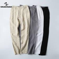 Shan Bao бренд для мужчин Лен мотобрюки 2017 высокое качество роскошные свободные прямые китайский стиль Большой размеры повседневные штаны