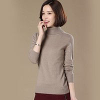 High Quality Pure Cashmere Sweater Pullover High Collar Turtleneck Sweater Turn Down Collar Solid Color Women