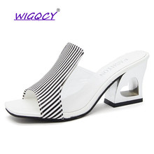 Transparent High heels slippers women 2019 Summer shoes women Fashion Gingham Casual Slides white Slip-On Open toe female shoes