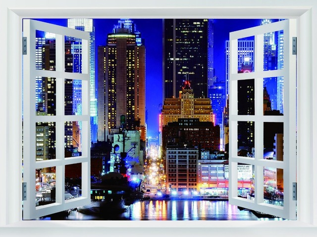 One piece wallpaper of new york city manhattan night hot retro poly glue print poster