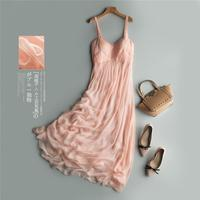 Silk Dresses Women Elegant Pink Beach dress 100% silk Fashion Long dress Lady High Quality Clothing Free Shipping HOT Selling