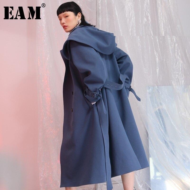 [EAM] 2018 New Autumn Hooded Long Sleeve Blue Cuff Bandange Loose Big Size Long Windbreaker Women Coat Fashion Tide JE68905S