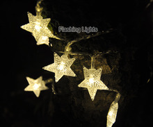 8M 50 LED Five pointed Star shape Twinkle String Light Battery Operated Fairy Lights Party Wedding Christmas Garland Decorations