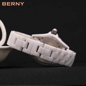 Image 5 - BERNY White Ceramic women watches waterproof luxury Japan Quartz relogio feminino  Best Gift For Christmas New Year 2316L