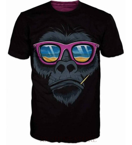 Party Monkey Mens T-shirt Sunglasess Beach Party 100% cotton funny print men t shirt women O-neck Casual tops tees(China)