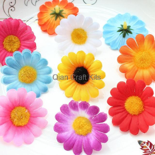 250pcs Gerbera Daisy Heads - Artificial Silk Flower 1.5 inches 45mm Wholesale  Lot for Bridal Wedding 8077bae1f37a