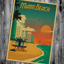 Miami Florida Wall Sticker Retro Poster Motivational vintage Poster Hanging Decorative Print Painting Classic Poster Walls Paper