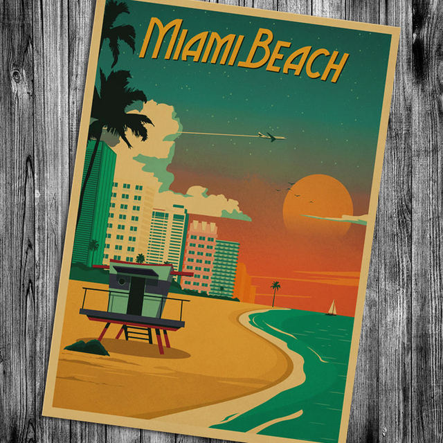 Miami florida wall sticker retro poster motivational vintage poster hanging decorative print painting classic poster walls