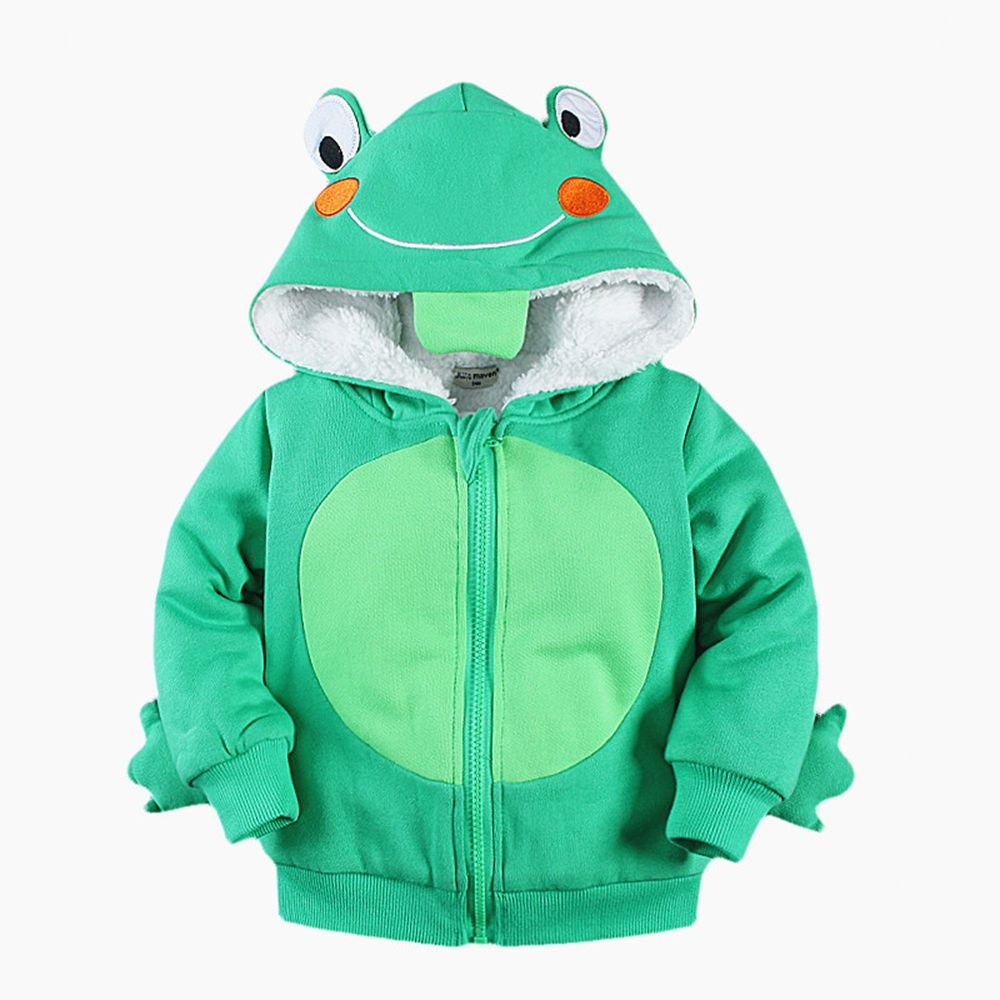 2-7T Kids Animal Hoodie Winter 3D Shape Cosplay Hoodie Children Thick Cotton Velvet Thermal Hooded Sweatshirt Zip Up Hoodie Kids