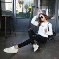 Новый отверстие в женских ног брюки джинсы летом Плотно в талии девять очков в черно-белый карандаш нищий брюки