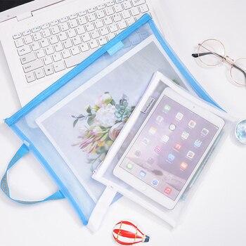Solid Color Document Bag A4 A5 Transparent Gridding Zip Storage Bags Pen Filing Products Pocket Folder Office & School Supplies 6