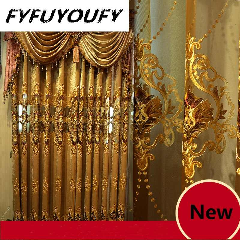 Chenille Jacquard European luxury classic embroidery shade decorative curtains for Living Room/Bedroom Royal Gold curtains